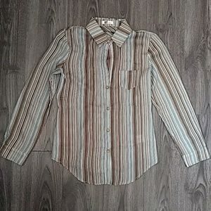 Kut from the kloth Blue Brown Pin Stripped Button